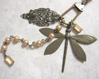 OOAK Dragonfly Necklace, Charm Necklace, Woodland, Pearl Chain, Champagne, Vintage Inspired, Boho Chic, Nature Inspired, Dragonfly, Bohemian
