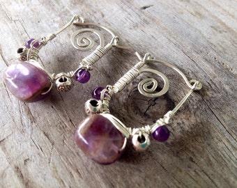 Sterling silver, swirl, amethyst earrings