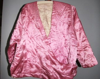 Vintage 1920s Quilted  Silk Bed Jacket Hand Stitched Mauve Pink Boudoir Jacket