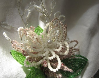 VINTAGE White & Pink Seed Beaded Flower Bouquet Boutonniere