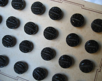Set of 24 VINTAGE Store Card Small Black Glass BUTTONS