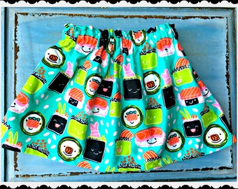 Girls sushi skirt 2t 3t 4t 4/5 6/6x 7/8 10/12 and 14/16 Ready to Ship