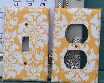 Custom Switchplate Yellow Damask