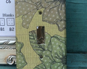 Custom Switchplate Green Brown  Floral