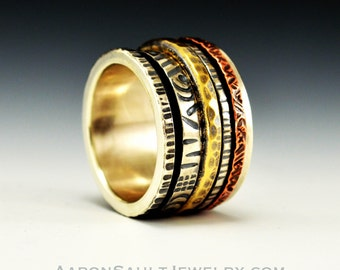 Kinetic Series - Frenzy.  Sterling Silver, Coper and Bronze Spinner Ring