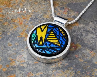 Fused Glass Pendant by BluDragonfly SRA - Gold Mine