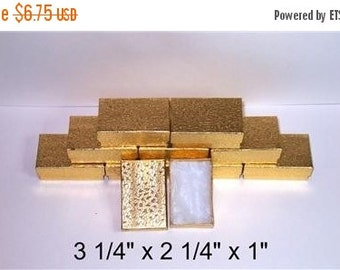 Summer Stock Up Sale 20 Pack Gold Foil Color Cotton Filled 3.25 X 2.25 X 1 Inch Size Retail Jewelry Gift Presentation Boxes