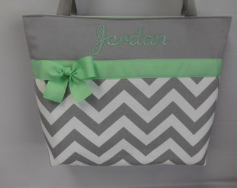 Personalized Tote ... CHEVRON  in Gray .. MINT  Accents  ... Monogrammed  FReE