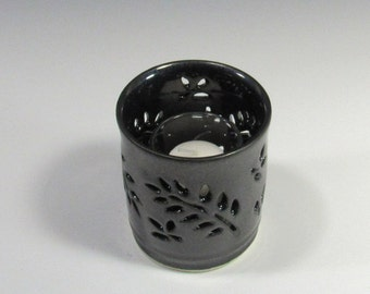 Candle holder - Carved holder for votive or pillar candle - luminary - home decor - handmade pottery