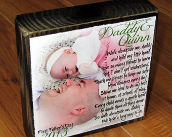 First Father's Day Photo Frame- Photo Block- Customized with your photo of Daddy and baby