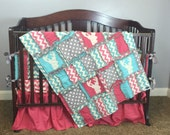 Custom Crib Set, Pink, Grey, and Turquoise Blue with Chevron, Appliqued Deer Stag, With Baby Rag Quilt, Bumpers, Skirt, Fitted Crib Sheet
