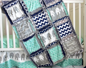 Elephant Crib Set- Navy/ Gray/ Mint Crib Bedding Boy - Baby Bedding Sets- Jungle Nursery- Safari Crib Set- Rag Quilt, Sheet, Skirt, Bumpers