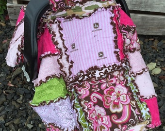 CAR SEAT Canopy with Tractors Pink, Brown, Baby Blanket - Also Use as Farming Girls Mini Crib Baby Bedding - Farm Girl Quilt Ready to Ship