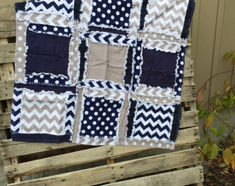 Boy Baby Blanket - Navy Blue, Gray - Security Blanket - Stroller Blanket - Car Seat Quilt - Mini Crib Quilt - Baby Boy Quilt - Ready to Ship