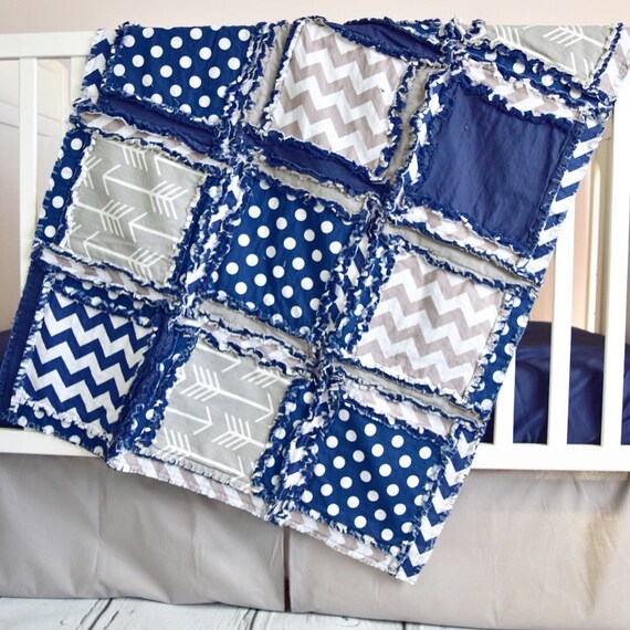 Arrow Crib Bedding Custom Crib Set Rag Quilt Skirt Sheet