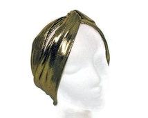 Gold Flapper Headband Retro Gold Head Wrap 20's Turban Headwrap Gold Gatsby Headwrap  Flapper Turban Headband Turban Style  Gold Headbands