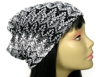Black and White Knit Slouchy Hat Custom Lightweight Slouch Hat Slouchy Tam Slouchy Beanie Hat for Hair Loss Chic Chemo Caps for Women Beanie