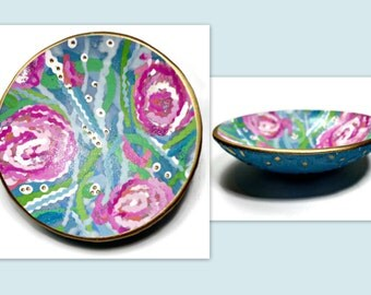 Lilly Pulitzer Inspired Floral Ring Holder- Polymer Clay Dish- Personalized Ring Dish- Wedding Ring Dish