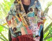 100 Patch CASHMERE SCARF - Patchwork Couture Collage Clothing  -Random Scraps of Fabric - Applique Crazy Quilt  Wearable Folk Art - myBonny