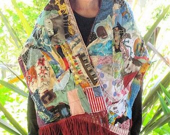 100 Patch CASHMERE SCARF - Patchwork Couture Collage Clothing  -Random Scraps of Fabric - Applique Crazy Quilt  Wearable Folk Art - myBonny