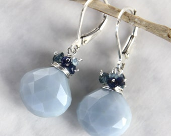 Blue Opal Earrings with London Blue Topaz and Sapphires in Solid Sterling Silver