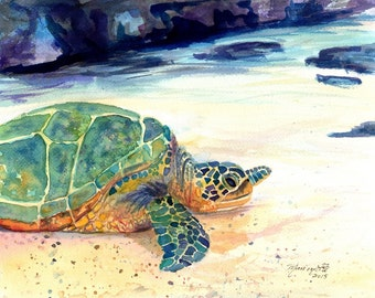 Turtle 8x10 Art Print - Kauai Art - Hawaiian Honu Painting - Childrens Wall Art - Turtle Animal - Art by Marionette  - honu Hawaiian ocean