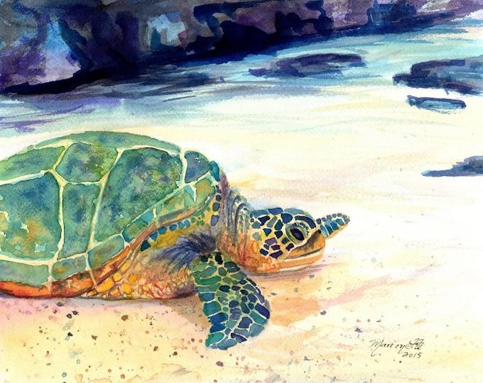 Turtle 8x10 Art Print - Kauai Art - Hawaiian Honu Painting - Childrens Wall Art - Turtle Animal - Art by Marionette  - honu Hawaiian ocean