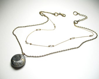 Moon and the Stars - Celestial Jewelry - Polymer Clay Jewelry