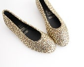 SALE | size 7.5 | Vintage Leather Flats | Leopard Print Leather Shoes  | Round Toe Leather Flats | 38
