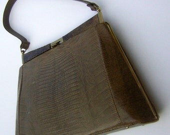 Vintage Lizard Handbag purse 50s 60s Reptile Leather Super Classy Shape & Color