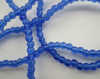 Blue Translucent 4mm Round African Trade Beads