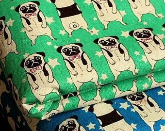 Japanese Fabric Linen Cotton Blended - Lovely Pug - Half Yard