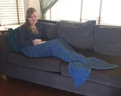 Mermaid Tail Crocheted Blanket - Dark Blue with Teal Flecks - Please allow 2 weeks for delivery