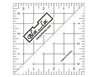 "Bloc-Loc 3.5"" Inch Ruler - Half Square Triangle Ruler - Square Up Ruler for HST - Quilting Tool"