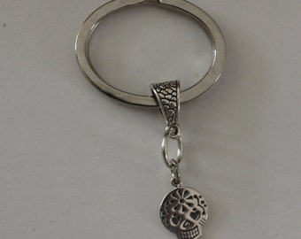 Sterling SUGAR SKULL Key Ring - Key Chain - Day of the Dead