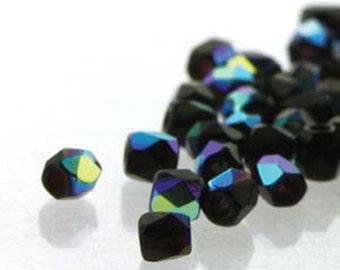 Jet AB 2mm True Fire Polish Czech Glass Crystal Beads 4 grams