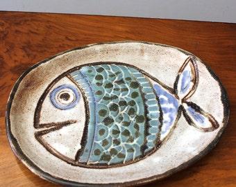 Rustic vintage oval stoneware platter. Happy Fish.