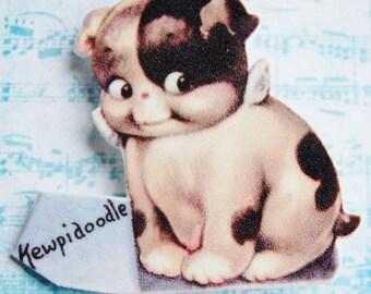 Kewpie Puppy Shrink Plastic Brooch Pin