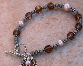 Genuine Smoky Quartz and Champagne FW Pearl Sterling Silver Bracelet, Cavalier Creations