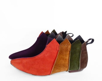 60's PIXIE ankle booties // vintage leather patchwork boots // winklepicker slippers // nubuck COLOR BLOCK / women's 6.5 / 7