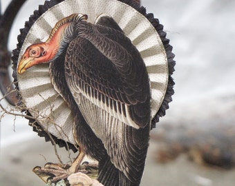 Vintage Halloween Victorian Inspired VULTURE Standing on a Spool with Rosette
