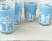 Set of 4 Mid Century Wedgwood Blue Jeanette Hellenic Jasperware Water Glasses Tumblers Glassware