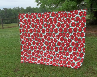 Vintage Christmas Tablecloth 62x80 Farmhouse Christmas Decorations Red Green Tablecloth Poinsetta Fabric 62 x 80