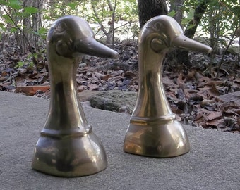 Brass Duck Bookends Vintage Brass Bookends Mallard Ducks Book Ends Office Decor Desk Accessory Doorstop Country Farmhouse Rustic Cabin Decor