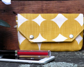 Mustard phone wallet for her, Skinny laMinx Wallet, Yellow dot bag, Vegan Wristlet, Handprinted Bag, Purse Organizer, Wristlet keychain