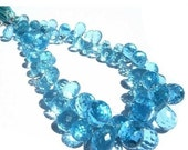 55% OFF SALE 1/2 Strand Outrageous Sky Blue Quartz Micro Faceted Teardrop Briolettes Size- 8x6 - 12x8mm approx