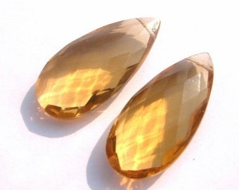 55% OFF SALE 1 Pair AAA Champagne Quartz Faceted Elongated Pear Briolettes Size 26x12mm approx