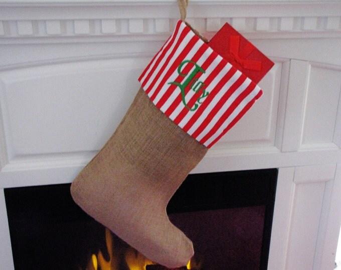 Personalized Christmas Stocking - Red Stripe Burlap