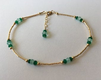 Gold Filled Aqua Chalcedony and Green Onyx Anklet