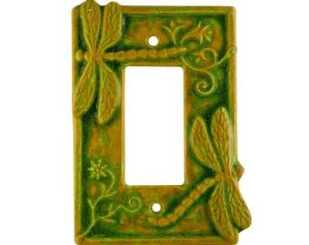 Dragonflies Ceramic Switch Plate in Green Ocher glaze